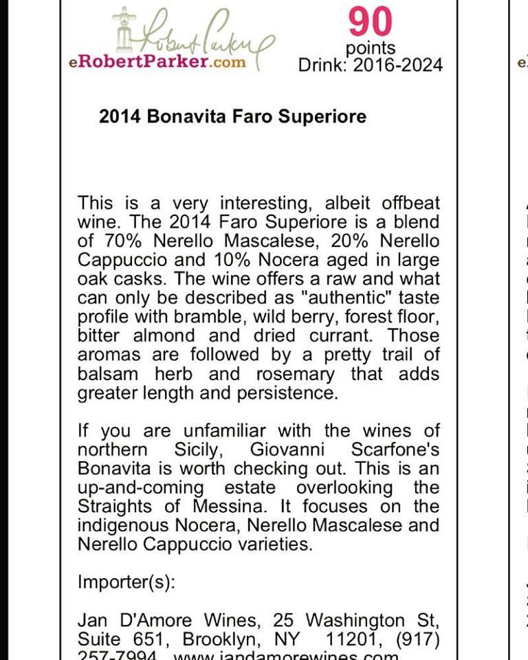 Wine Advocate sul nostro Faro 2014